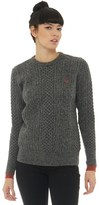 Fred Perry Womens Tipped Cable Knit Sweater Graphite Marl