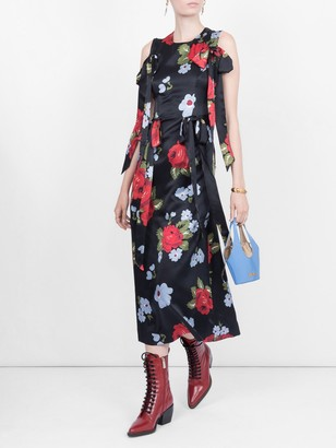 Simone Rocha Bow Ribbon Floral Dress Black