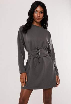 Missguided Grey Oversized Corset Waist T Shirt Dress