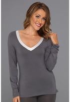 Calvin Klein Underwear Essentials w/ Satin Trim L/S V Neck PJ Top Women's Pajama