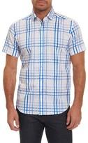 Robert Graham Men's Dax Tailored Fit Check Short Sleeve Linen Sport Shirt