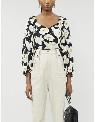 BA&SH Long-sleeved floral-print crepe blouse