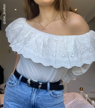 New Look Poplin Broderie Trim Bardot Top