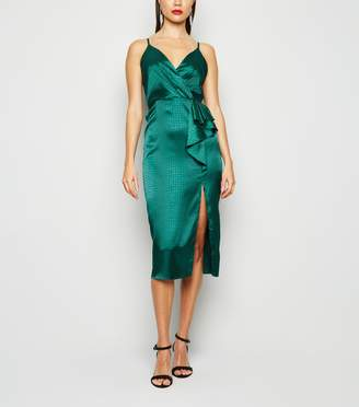 New Look Satin Snake Jacquard Ruffle Midi Dress