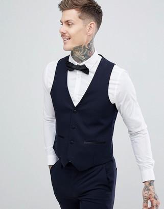 Harry Brown Slim 50% Wool Split Lapel Navy Dinner Waistcoat