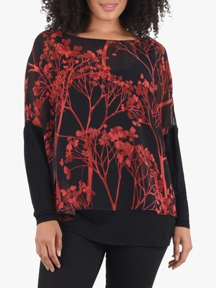Live Unlimited Curve Blossom Floral Top, Black/Multi