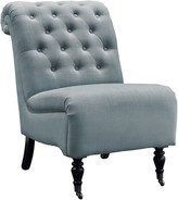 Linon Cora Washed Blue Linen Roll Back Tufted Chair