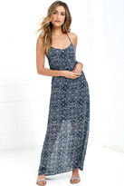 En Creme Sky Train Navy Blue Print Maxi Dress