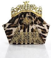 Fendi Beige Calf Hair Animal Print Gold Tone Filigree Vintage Evening Handbag