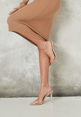 Missguided Nude Pointed Toe Clear Court Heels