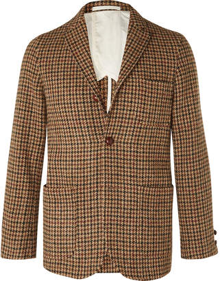 Beams Brown Unstructured Harris Tweed Houndstooth Wool Blazer