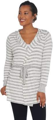 Anybody AnyBody Brushed Hacci Striped Hooded Cardigan