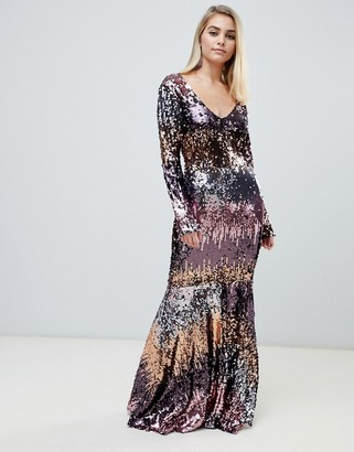 Club L London sequin V neck ombre fishtail maxi dress