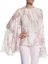 Giambattista Valli Lilly of the Valley Cape-Sleeve Blouse, White/Pink