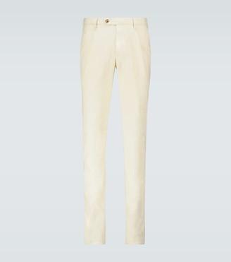 Cotton-linen blend pleated pants