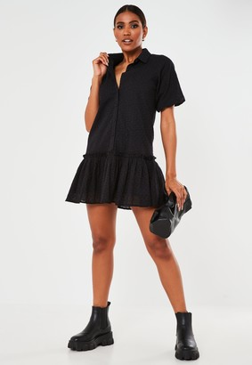Missguided Black Broderie Anglaise Ruffle Shirt Smock Dress