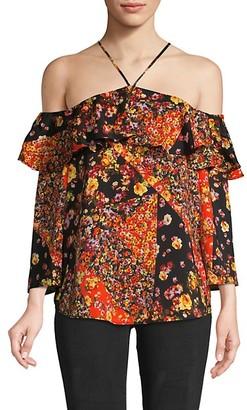 Ava & Aiden Floral Cold-Shoulder Halter Top