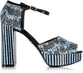 Roberto Cavalli Claudia Powder Blue Elaphe Snakeskin Platform Sandal