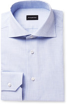 Ermenegildo Zegna Blue Slim-Fit Cutaway-Collar Checked Cotton Shirt