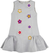 Fendi Flower-Appliquéd Silk-Blend Dress-GREY