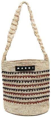 Marni Market Striped Crochet Shoulder Bag