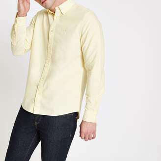 River Island Mens Yellow long sleeve Oxford shirt