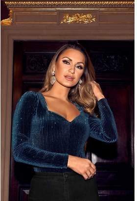 Quiz Sam Faiers Bottle Green Velvet Glitter Sweetheart Bodysuit