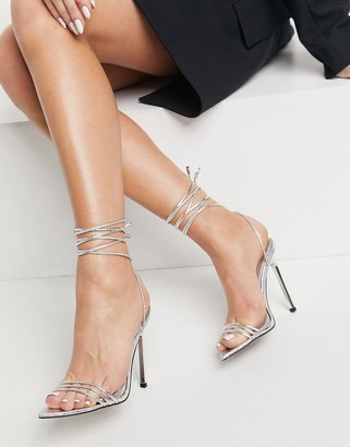 ASOS DESIGN Nadine strappy high heeled sandals on pointed insole in silver snake