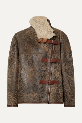 Isabel Marant Abelina Leather-trimmed Painted Shearling Jacket - Brown
