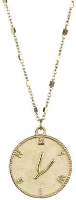 Jennifer Zeuner Jewelry Tati 14K Yellow Gold Vermeil Wishbone Medallion Necklace
