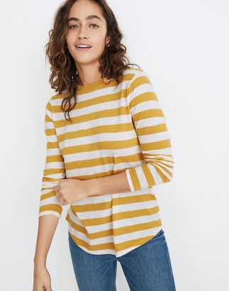 Madewell Whisper Cotton Rib-Crewneck Long-Sleeve Ringer Tee in Canarsie Stripe