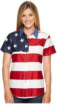 Roper S/S Stars and Stripes Pieced Flag (Red) Women's Short Sleeve Button Up