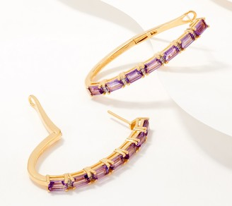 Choice of Gemstone with Diamond 14K Gold Plated Earrings