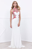 Nox Anabel - Sleeveless Floral Embroidered Halter Neck Long Jersey Dress 8322