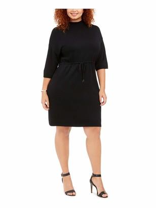 Anne Klein Womens Black Belted 3/4 Sleeve Jewel Neck Above The Knee Sheath Wear to Work Dress Plus UK Size:26