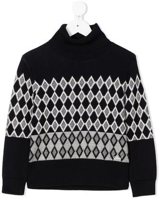 Chloé Kids Diamond Knit Sweater With Roll Neck
