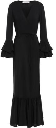 Diane von Furstenberg Katerina Fluted Jersey And Silk-satin Maxi Wrap Dress