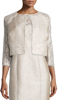 Kay Unger New York 3/4-Sleeve Lace Tweed Cropped Jacket