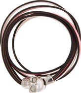 Alexander McQueen Coral Leather Layered Double Wrap Skull Bracelet