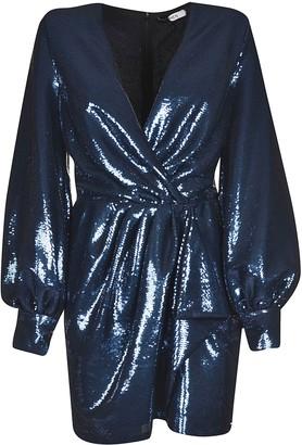 Amen Sparkling Sequin-coated Belted Dress