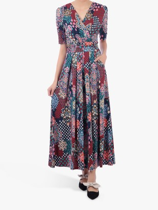 Jolie Moi Half Sleeve Wrap Front Paisley Maxi Dress, Paisley Multi