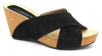 "Cordani Adriana"" Black Suede & Cork Strappy Slide Sandal"