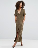 Liquorish Khaki Faux Suede Zip Front Maxi Dress