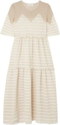 Sonia Rykiel Paneled Striped Jersey Midi Dress