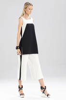 Josie Natori Double Knit Jersey Color Block Swing Tunic
