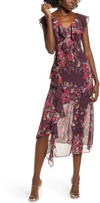Leith Floral Asymmetrical Ruffle Midi Dress