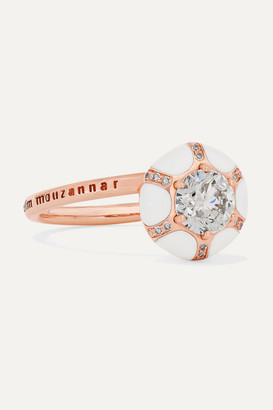 Selim Mouzannar 18-karat Rose Gold, Enamel And Diamond Ring - 52