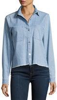 7 For All Mankind Step-Hem Button-Front Denim Shirt, Blue
