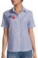 Tanya Taylor Erie Cotton Embellished Applique Shirt