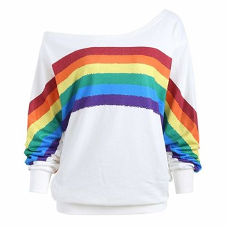 Clemunn Womens Girls Tshirt Ladies Casual Long Sleeve Pullover One Shoulder Off Print Loose Blouse Tops (3XL